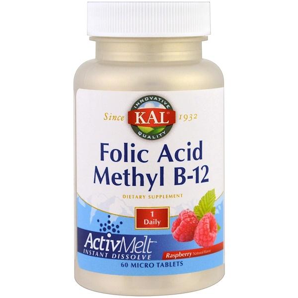 KAL, 葉酸甲酯B-12,ActivMelt,覆盆子,60微片