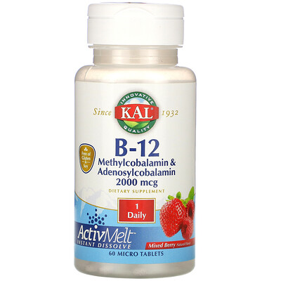 Купить KAL ActivMelt, витаминB-12 (в виде метилкобаламина и аденосилкобаламина), с ягодным ароматизатором, 2000мкг, 60мини-таблеток
