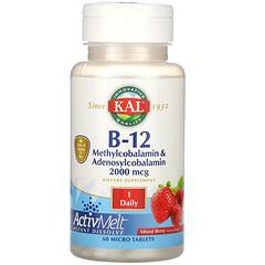 KAL, 維生素 B12 甲鈷胺和腺苷鈷胺,混合漿果味,2,000 微克,60 片微片