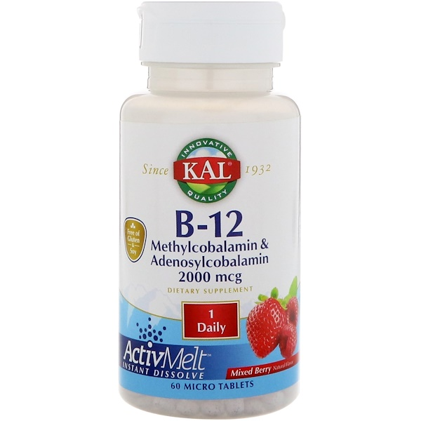 KAL, B-12 Methylcobalamin & Adenosylcobalamin, Mixed Berry, 2,000 mcg, 60 Micro Tablets