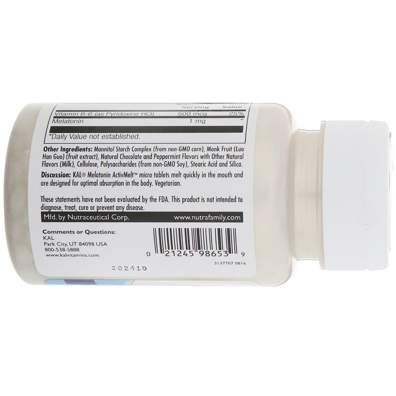 Kal Melatonin 3 Mg 120 Tablets: KAL, Melatonin, Chocolate Mint Natural Flavor, 1 Mg , 120