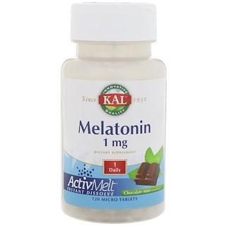 KAL, Melatonin, Chocolate Mint Natural Flavor, 1 mg , 120 Micro Tablets