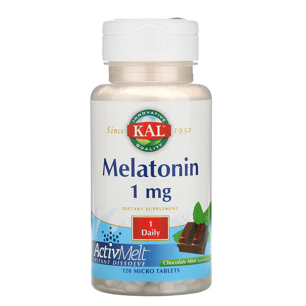 KAL, Melatonin, Chocolate Mint Natural Flavor, 1 mg , 120 Micro Tablets