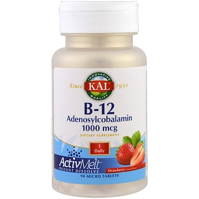 B-12 Adenosylcobalamin, Strawberry, 1, 000 mcg, 90 Micro Tablets  - купить со скидкой