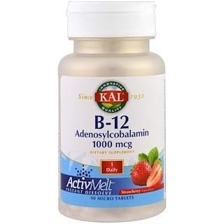 KAL, B-12アデノシルコバラミン、ストロベリー、1000 mcg、マイクロタブレット90錠