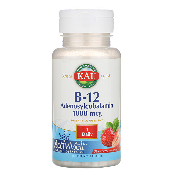 B-12 Adenosylcobalamin, Strawberry, 1,000 mcg, 90 Micro Tablets