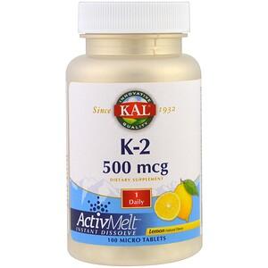 КАЛ, K-2, Lemon, 500 mcg, 100 Micro Tablets отзывы