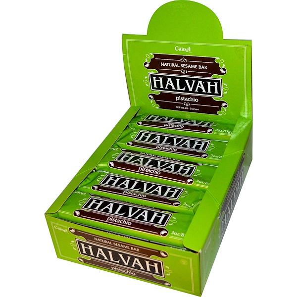 Marque Camel Brand, Halvah, Natural Sesame Bar, Pistachio, 20 Bars, 3 oz Each (Discontinued Item)