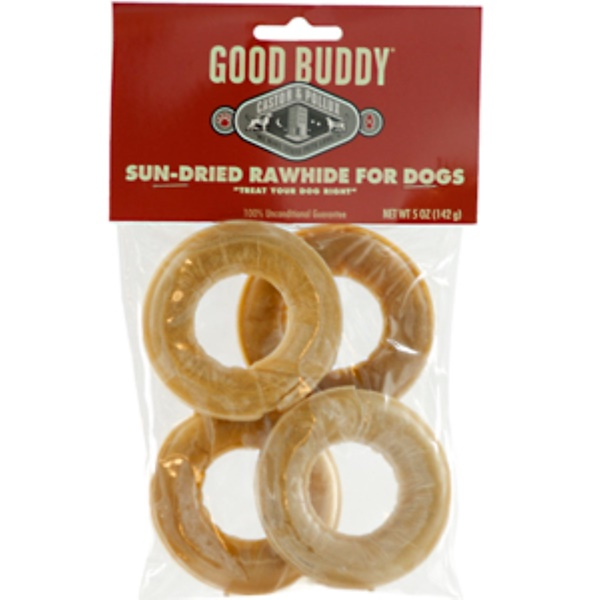 Castor & Pollux, Good Buddy, Sun-Dried Rawhide Rings for Dogs, 4 Rings, 5 oz (142 g) (Discontinued Item)