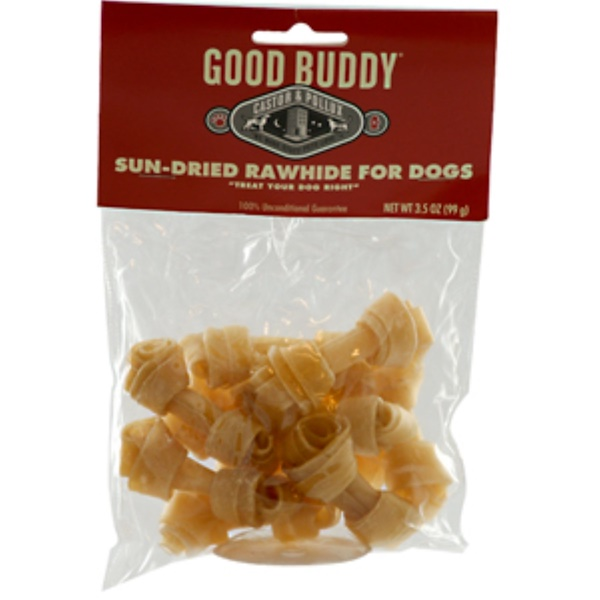 Castor & Pollux, Good Buddy, Mini Knotted Bones, Sun-Dried Rawhide for Dogs, 3.5 oz (99 g) (Discontinued Item)