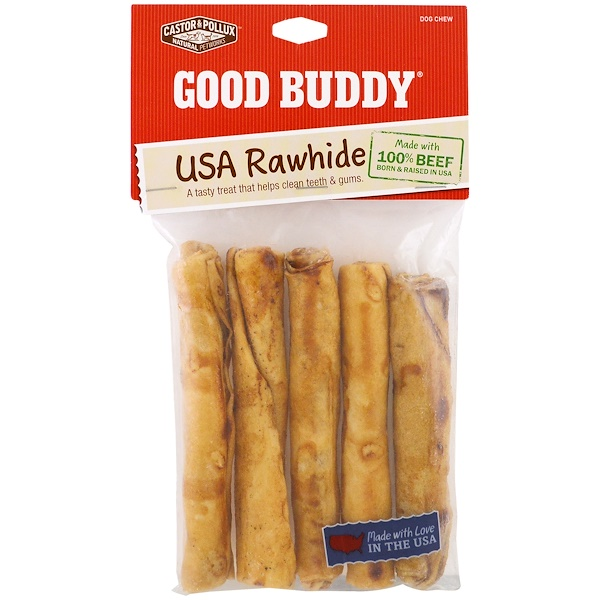 Castor & Pollux, Good Buddy, USA Rawhide, Chicken Flavored Rolls, 5 Rolls, 5 in (12.6 cm)