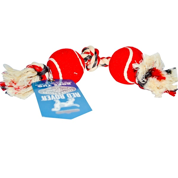 Castor & Pollux, Red Rover, Rope Tug with Tennis Balls for Dogs, Small Size (Discontinued Item)