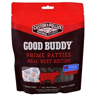 Castor & Pollux, Good Buddy, Prime Patties, Real Beef Recipe, 4 oz (113 g)