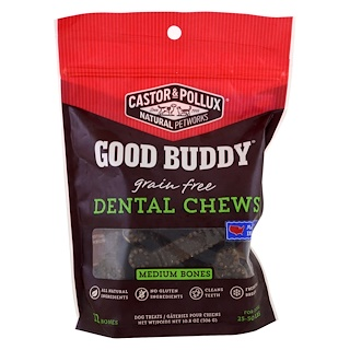 Castor & Pollux, Good Buddy, Dental Chews, Medium Bones, For Dogs, 12 Bones