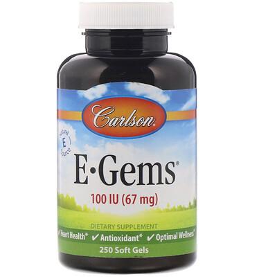 Купить E-Gems, 100 МЕ (67 мг), 250 мягких таблеток