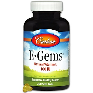 Carlson Labs, E-Gems, Natural Vitamin E, 100 IU, 250 Softgels