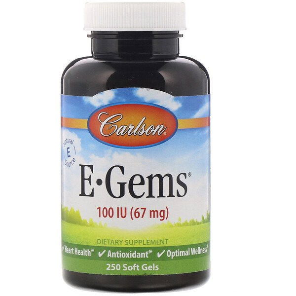 Carlson Labs, E-Gems, 100 IU (67 mg), 250 Softgels