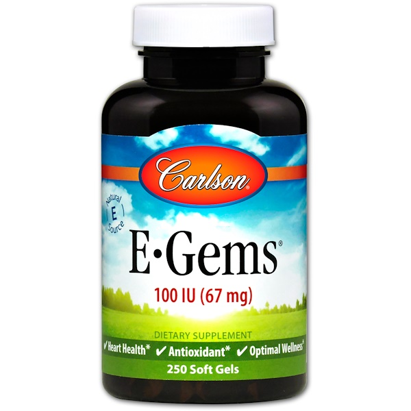Carlson Labs, E-Gems、100 IU (67 mg)、250ソフトジェル