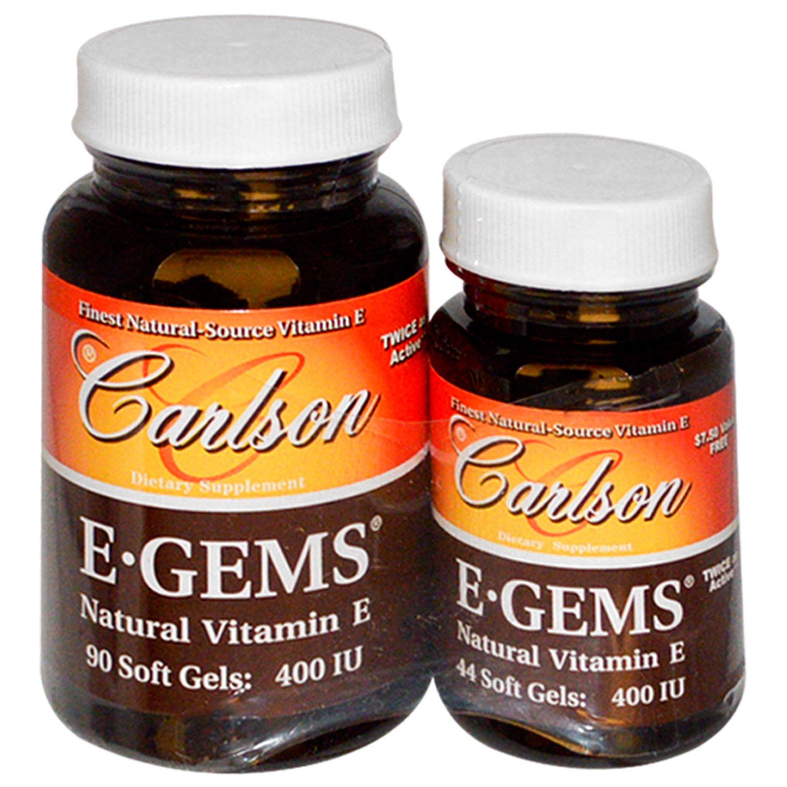 Carlson Labs, E-Gems, натуральный витамин E, 400 МЕ, 2 флакона, 90 желатиновых капсул + 44 желатиновые капсулы