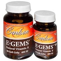 E-Gems, натуральный витамин E, 400 МЕ, 2 флакона, 90 желатиновых капсул + 44 желатиновые капсулы - фото