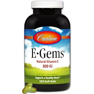 Carlson Labs, E-Gems, Natural Vitamin E, 800 IU, 250 Softgels