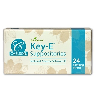 Carlson Labs, 키•E 서포지트리즈, 천연 비타민 E, 수딩 인서트 24 개