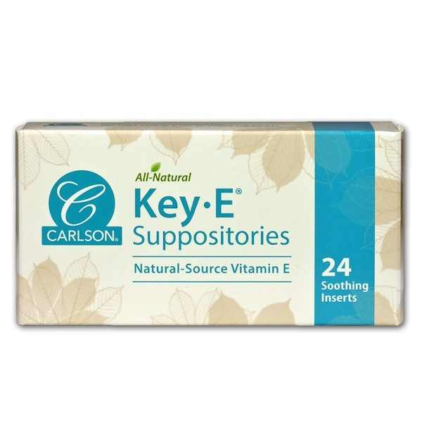Carlson Labs, Key•E Suppositories, Natural Vitamin E, 24 Soothing Inserts