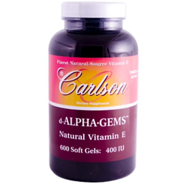 Carlson Labs, d-Alpha•Gems, Natural Vitamin E, 400 IU, 600 Soft Gels (Discontinued Item)