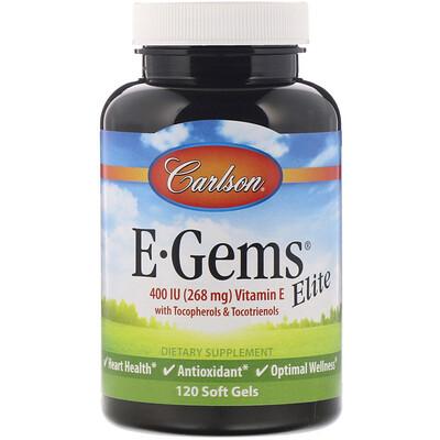 E-Gems Elite, витаминE, 268мг (400МЕ), 120мягких таблеток