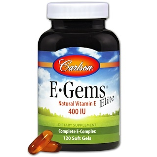 Carlson Labs, E-Gems Elite, Natural Vitamin E, 400 IU, 120 Soft Gels