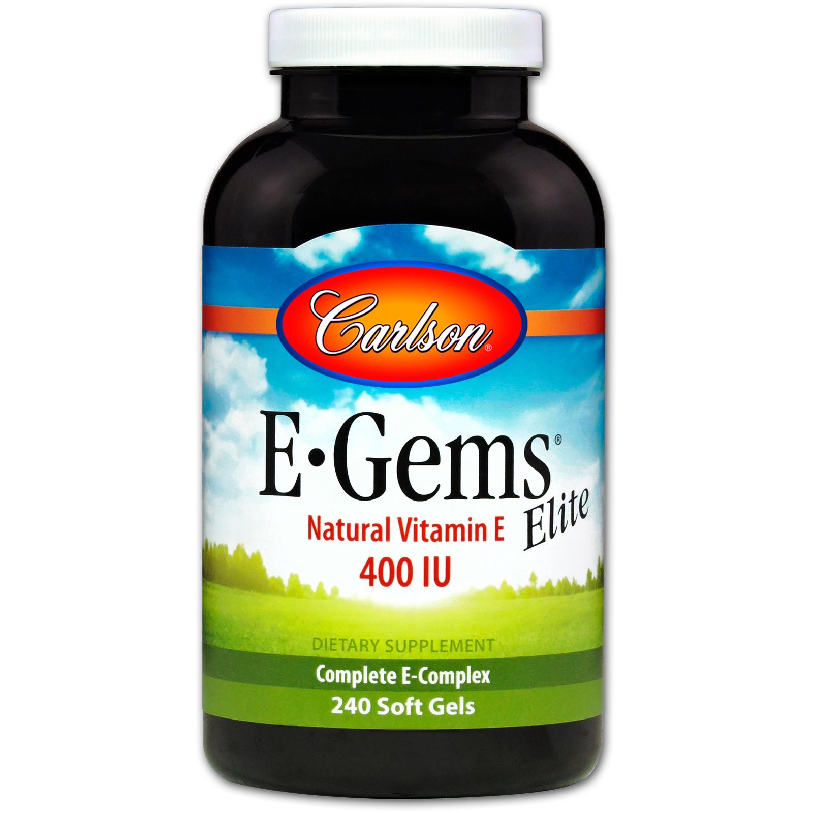 Carlson Labs E Gems Elite Natural Vitamin E 400 Iu 240 Soft Gels
