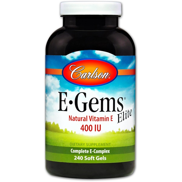 Carlson Labs, E-Gems Elite, Natural Vitamin E, 400 IU, 240 Soft Gels