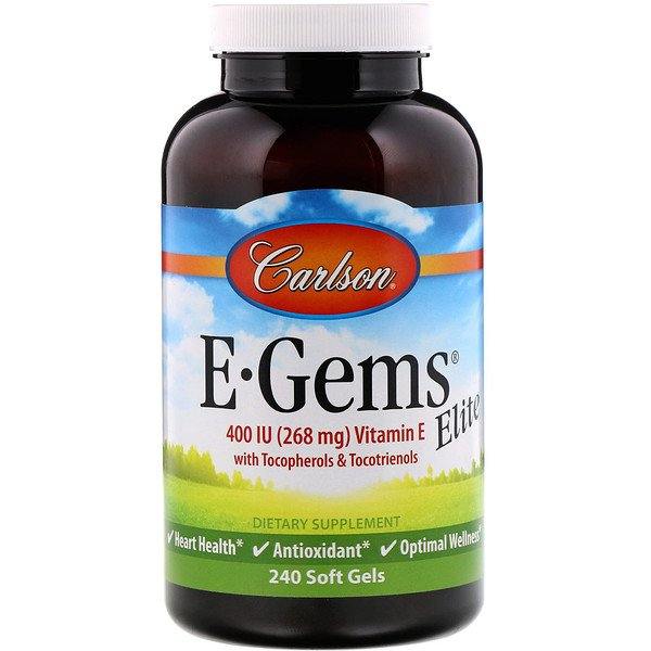 Carlson Labs, E-Gems Elite, Vitamin E with Tocopherols & Tocotrienols, 400 IU, 240 Soft Gels (Discontinued Item)