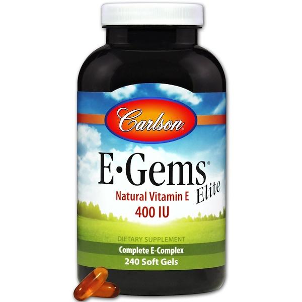 維生素維生素E維生素E,混合生育酚:Carlson Labs, E-Gems Elite, 天然維生素E,400 國際單位,240軟膠囊