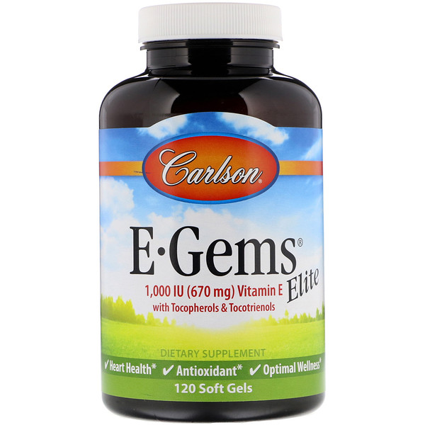Carlson Labs, E•Gems Elite, Vitamin E, 1000 IU, 120 Soft Gels