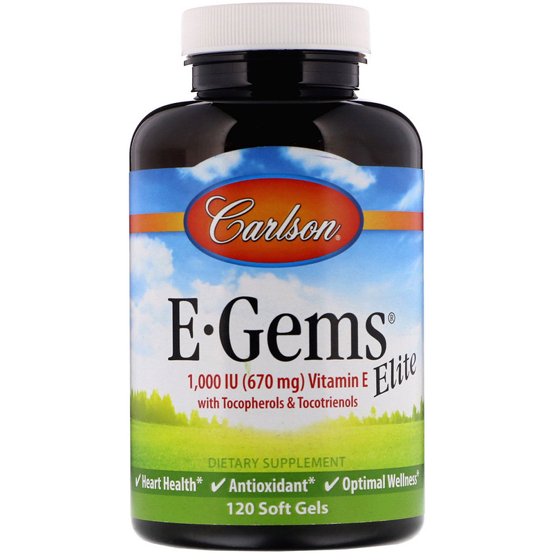 Carlson Labs, E-Gems Elite, Vitamin E, 670 mg (1,000 IU), 120 Soft Gels