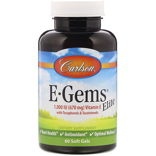Carlson Labs, E-Gems Elite, Vitamin E with Tocopherols & Tocotrienols, 1,000 IU, 60 Soft Gels