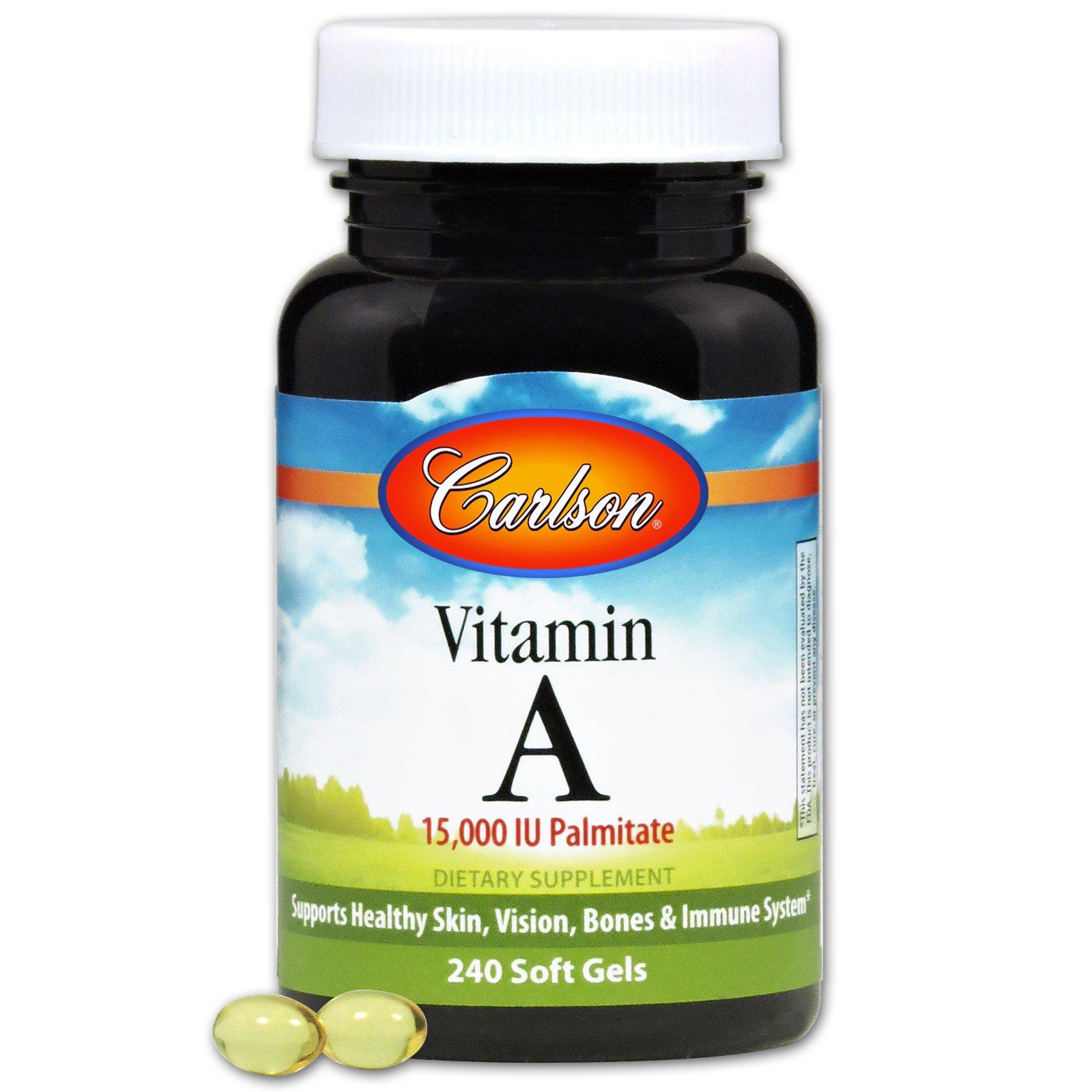 Carlson Labs, Витамин A, 15,000 МЕ, пальмитат, 240 гелевых капсул