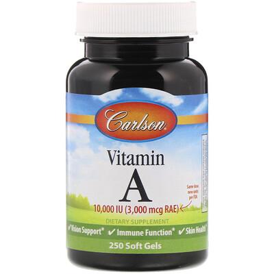 Купить Carlson Labs ВитаминA, 10000МЕ, 250мягких таблеток