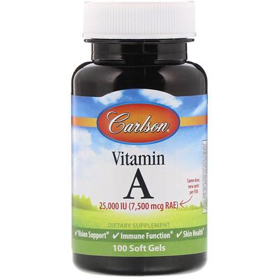 Купить Carlson Labs Витамин A, 25 000 МЕ, 100 мягких таблеток