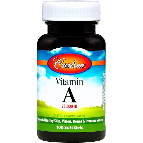 Carlson Labs, Vitamin A, 25,000 IU, 100 Soft Gels