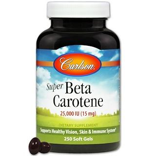 Carlson Labs, Super Beta Carotene, 25,000 IU (15 mg), 250 Soft Gels