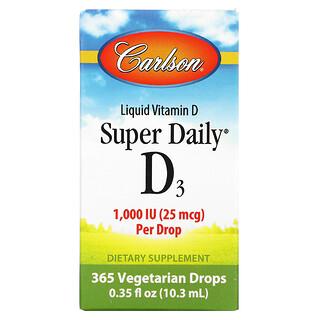 Carlson Labs, Super Daily D3, 1,000 IU, 0.35 fl oz (10.3 ml)