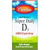 Carlson Labs, Super Daily D3, витамин D3, 2,000 МЕ, 0,37 жидкой унции (10,98 мл)