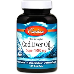Carlson Labs, Wild Norwegian Cod Liver Oil Gems, Super, 1000 mg, 100 Soft Gels