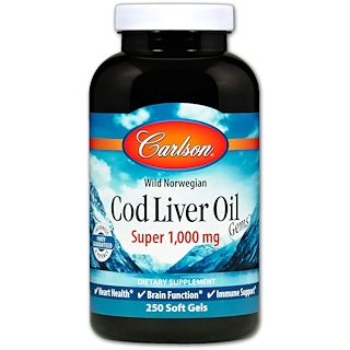 Carlson Labs, Wild Norwegian Cod Liver Oil Gems, Super, 1000 mg, 250 Soft Gels