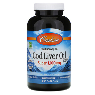 Carlson Labs, Wild Norwegian, Cod Liver Oil Gems, Super, 1,000 mg, 250 Soft Gels