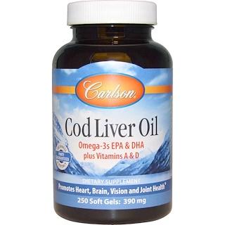 Carlson Labs, Cod Liver Oil, 390 mg, 250 Soft Gels