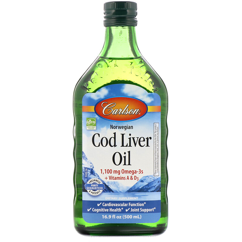 Carlson Labs, 挪威鱈魚肝油,普通無味,16.9液盎司(500毫升)