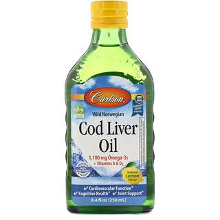 Carlson Labs, 野生挪威魚肝油,天然檸檬味,1,000 毫克,8.4 液量盎司(250 毫升)